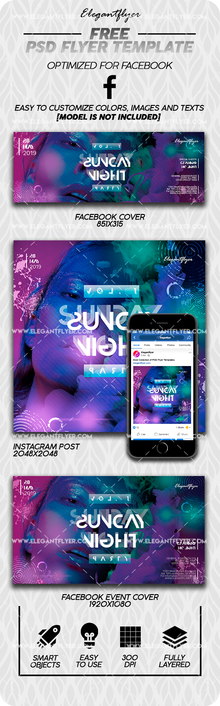 Night Club Saturday – Free Facebook Cover Template in PSD + Post + Event cover
