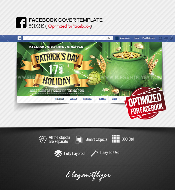 St. Patrick's Day Holiday – Facebook Cover PSD Template