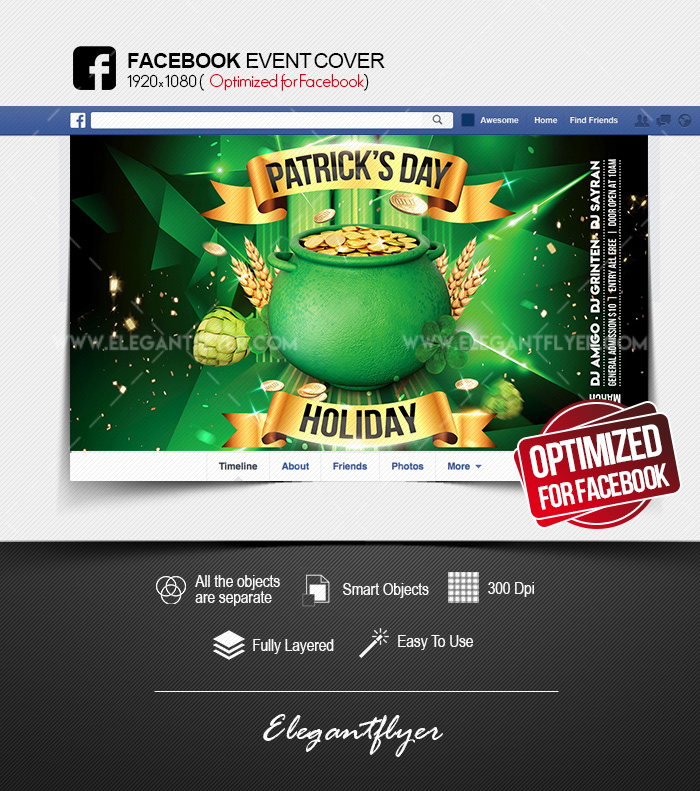 St. Patrick's Day Holiday – Facebook Event Cover PSD Template