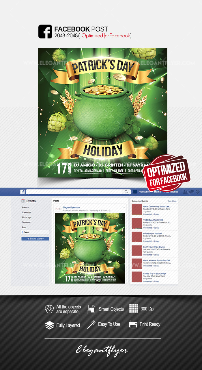 St. Patrick's Day Holiday – Facebook Post PSD Template