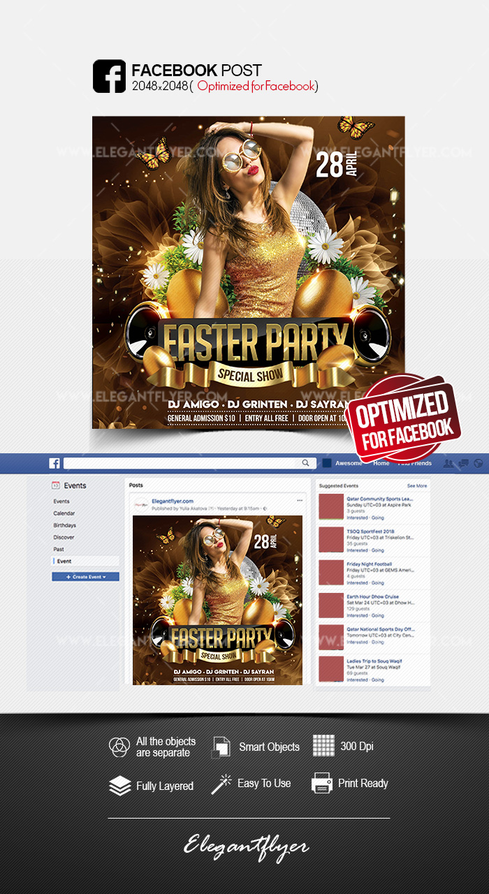 Easter Party – Facebook Post PSD Template