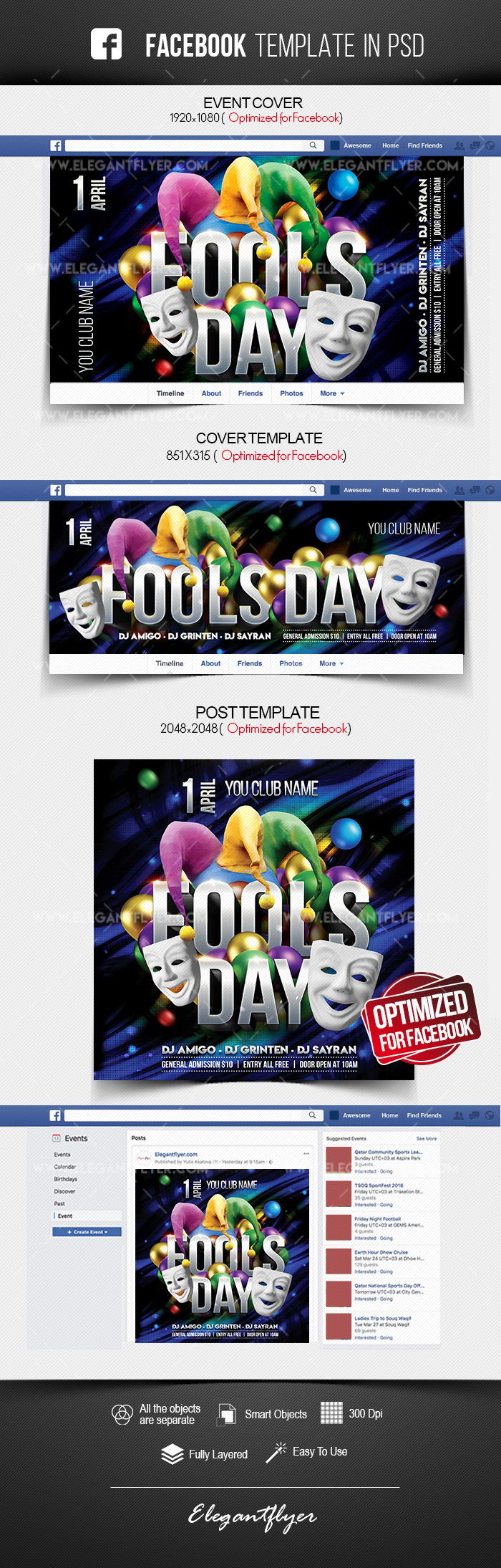 Fool's Day – Facebook Cover Template in PSD + Post + Event cover