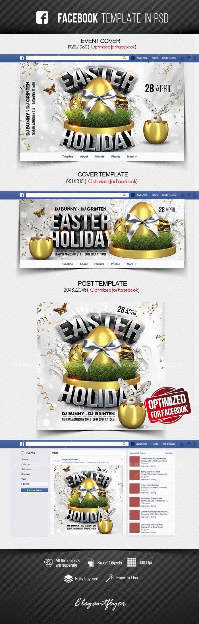 Easter Holiday – Facebook Cover Template in PSD + Post + Event cover