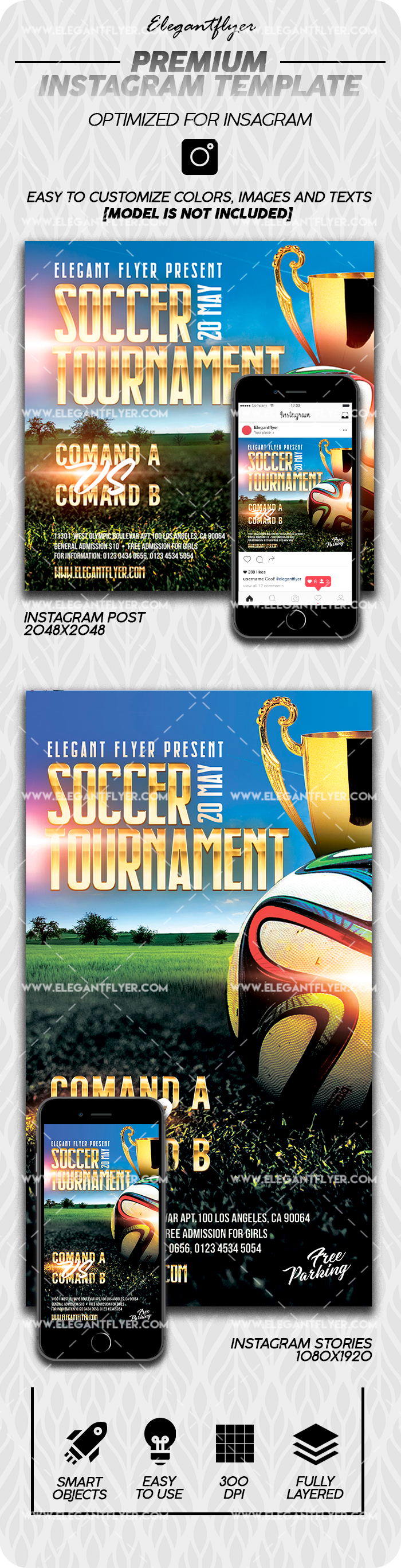 Soccer Tournament – Instagram Stories Template in PSD + Post Templates