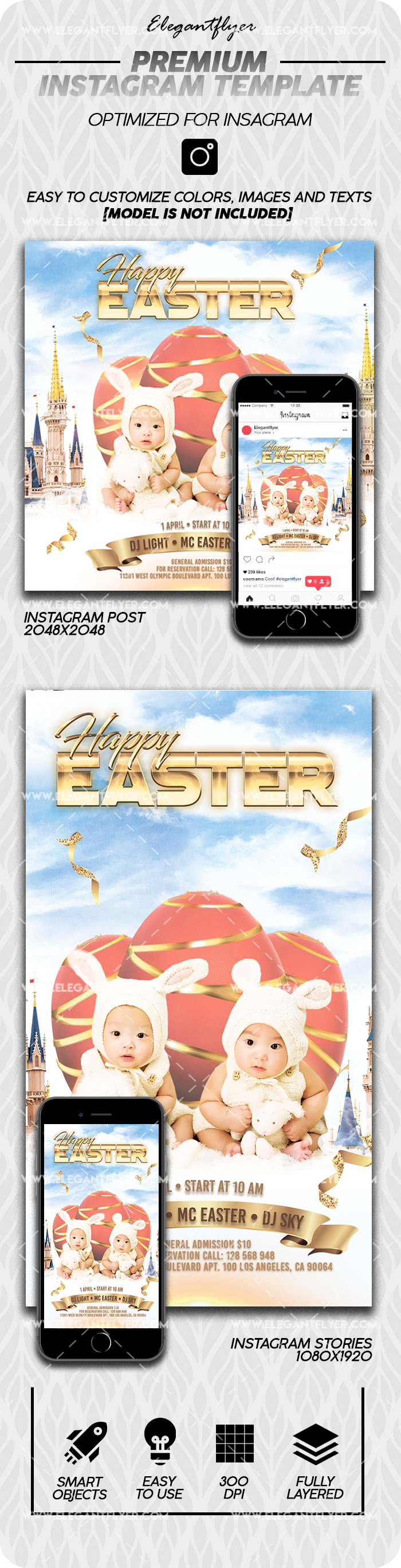 Happy Easter – Instagram Stories Template in PSD + Post Templates