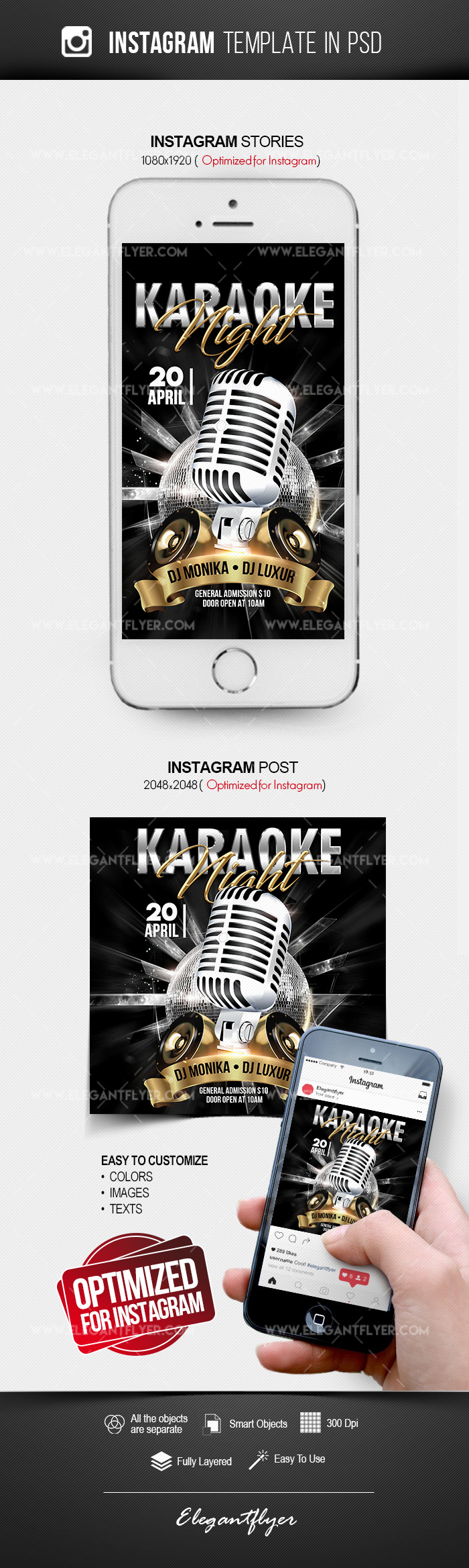 Karaoke Night – Free Instagram Stories Template in PSD + Post Templates