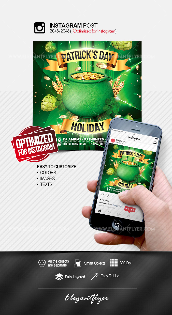 St. Patrick's Day Holiday – Instagram Post PSD Template