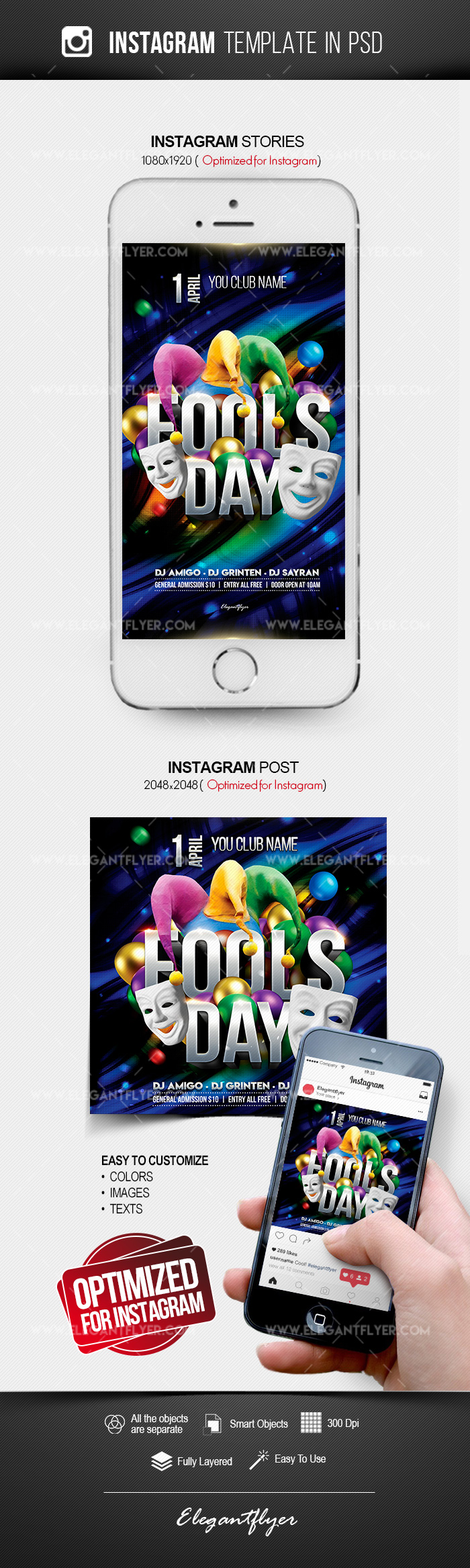 Fool's Day – Instagram Stories Template in PSD + Post Templates
