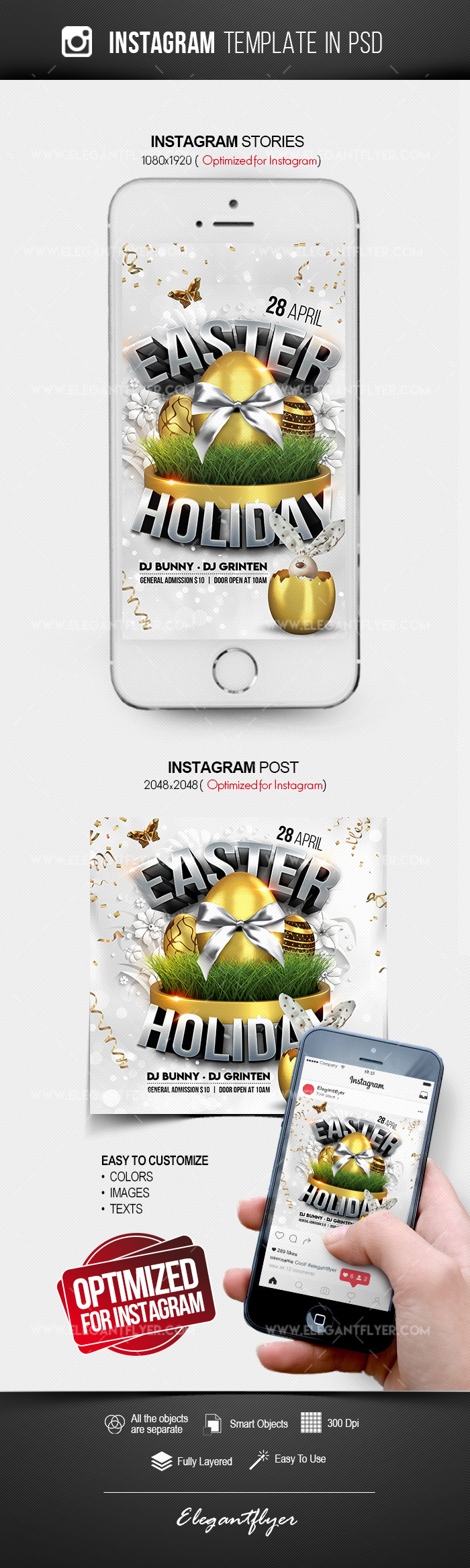 Easter Holiday – Instagram Stories Template in PSD + Post Templates