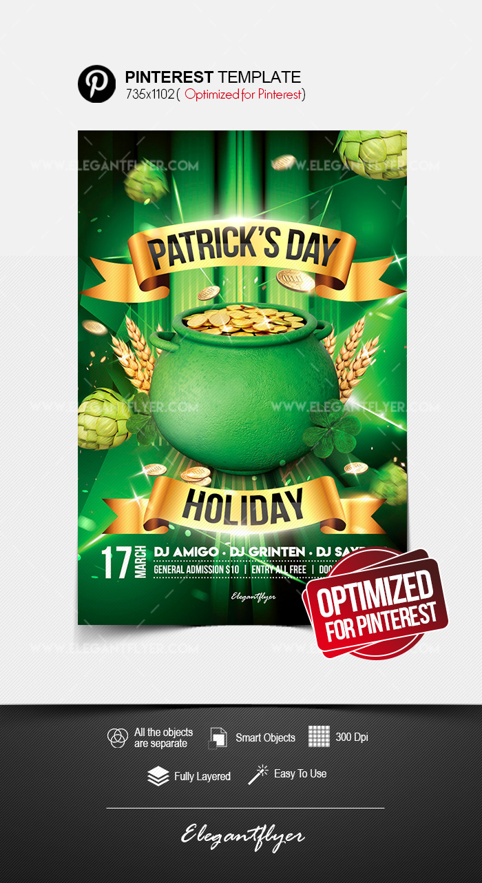 St. Patrick's Day Holiday – Pinterest PSD Template