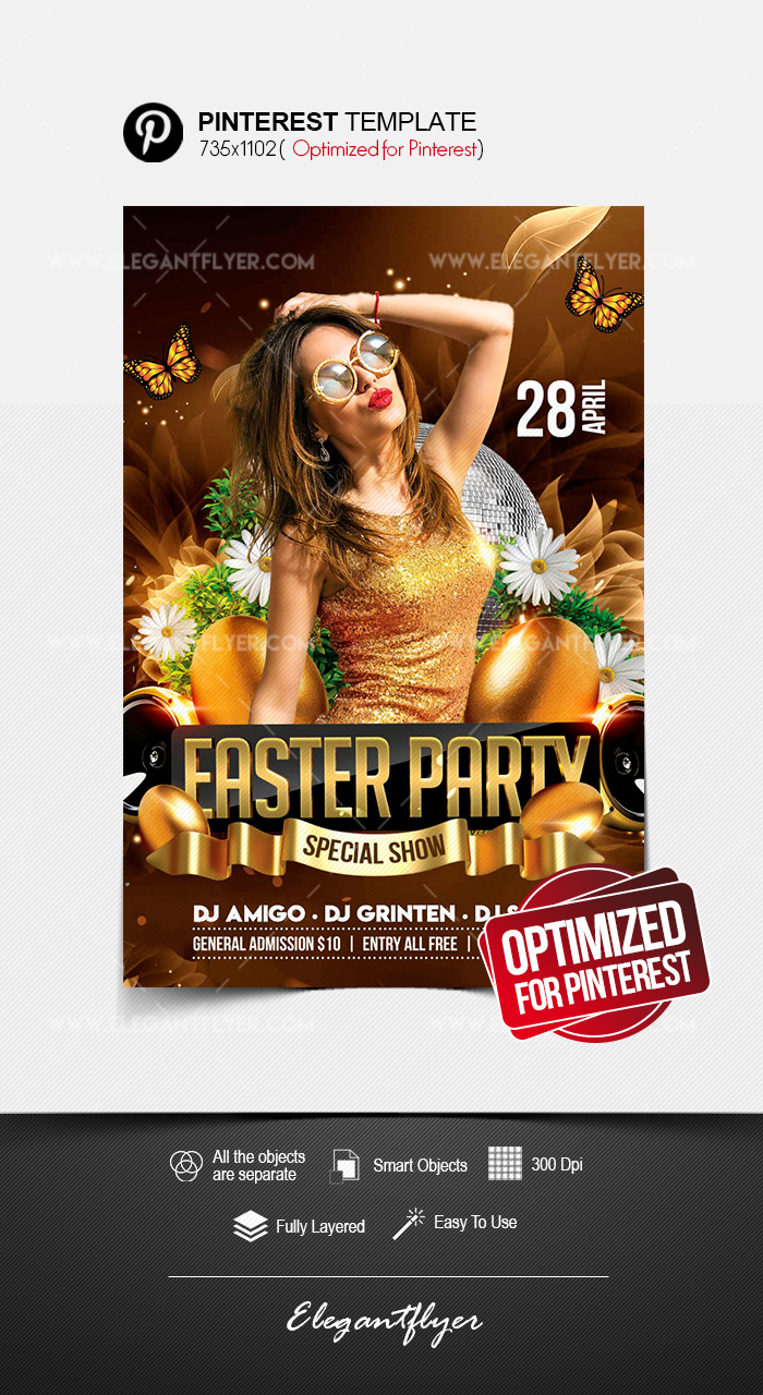 Easter Party – Pinterest PSD Template