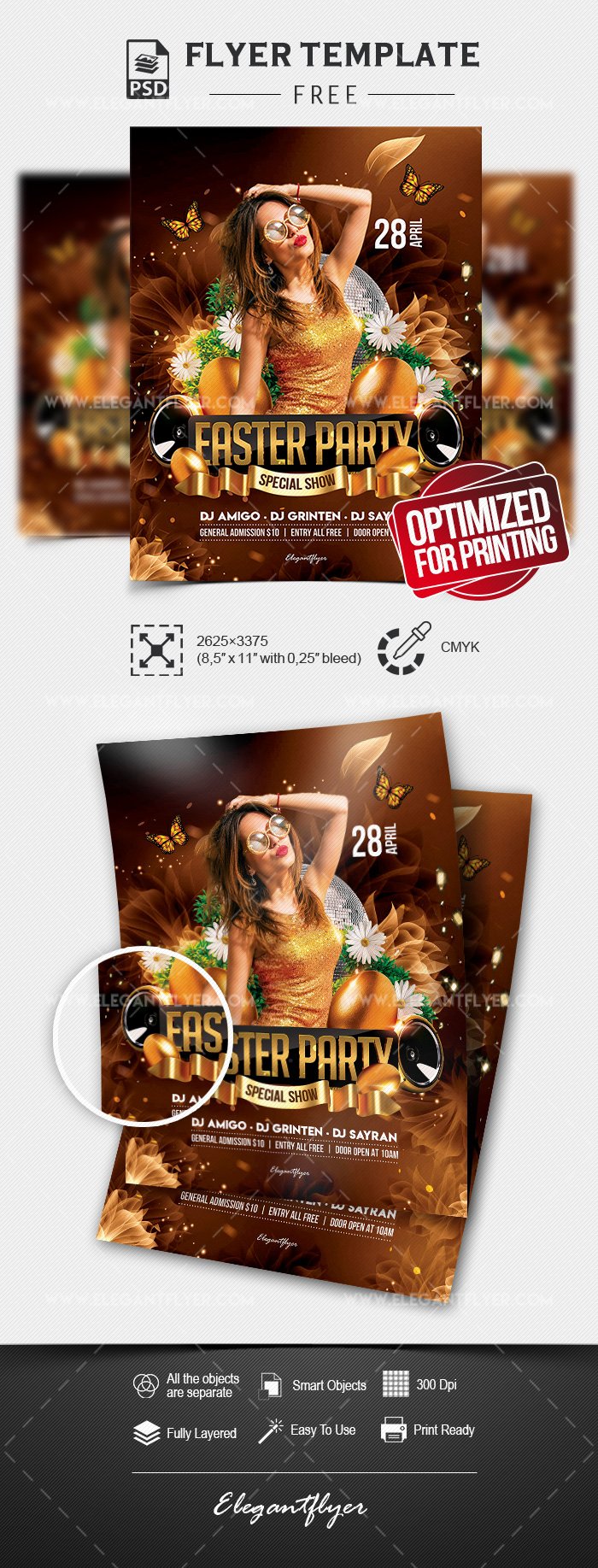 Easter Party Flyer – Free Flyer PSD Template