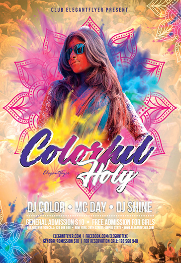 Colorful Holi – Flyer Template in PSD