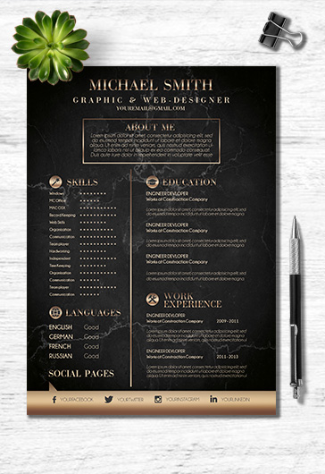 Dark-colored CV Template in PSD