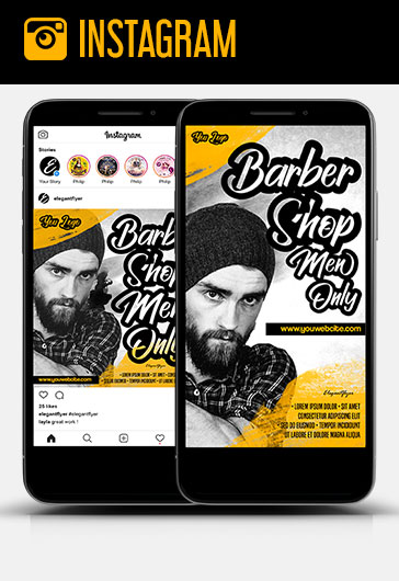 Barbershop Men Only – Free Instagram Stories Template in PSD + Post Templates