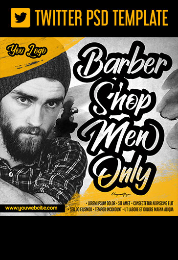 Barbershop Men Only – Free Twitter Header PSD Template
