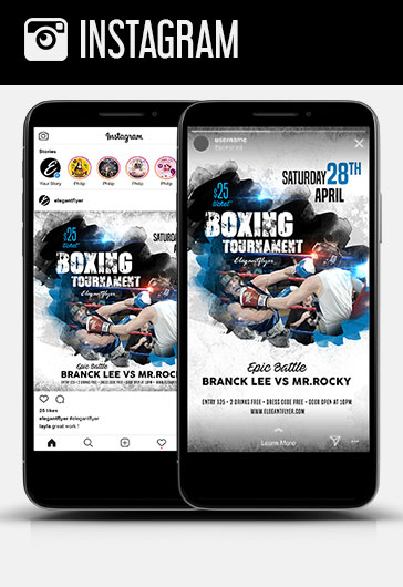 Boxing Tournament – Instagram Stories Template in PSD + Post Templates