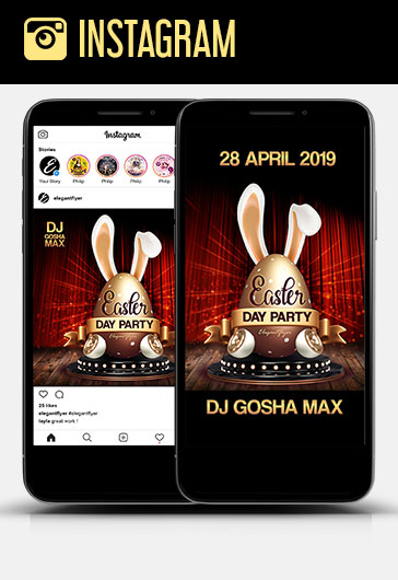Easter Day Party – Free Instagram Stories Template in PSD + Post Templates