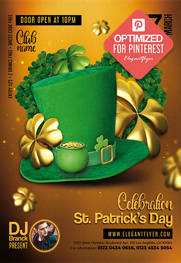 St. Patrick's Day Celebration – Pinterest PSD Template