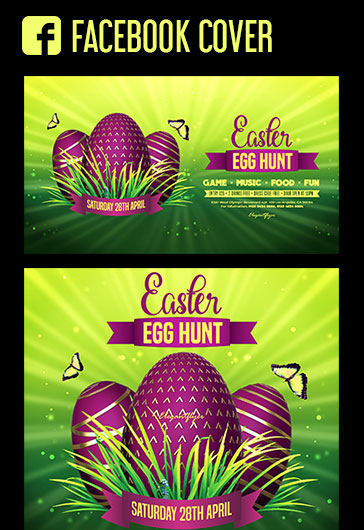 Egg Hunt Easter – Free Facebook Cover Template in PSD + Post + Event cover