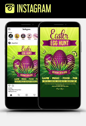 Egg Hunt Easter – Free Instagram Stories Template in PSD + Post Templates