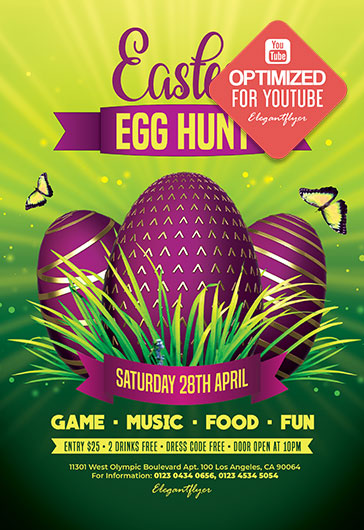 Egg Hunt Easter – Free Youtube Channel banner PSD Template