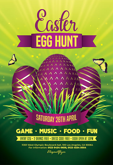Egg Hunt Easter – Free Flyer PSD Template
