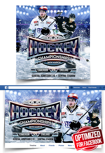 Ice Hockey World Championships – Facebook Cover Template in PSD + Post + Event cover