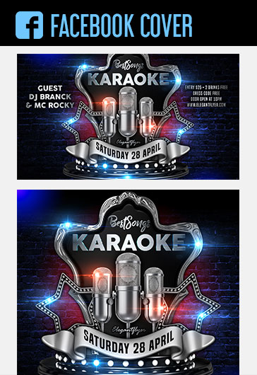 Karaoke Best Songs – Facebook Cover Template in PSD + Post + Event cover