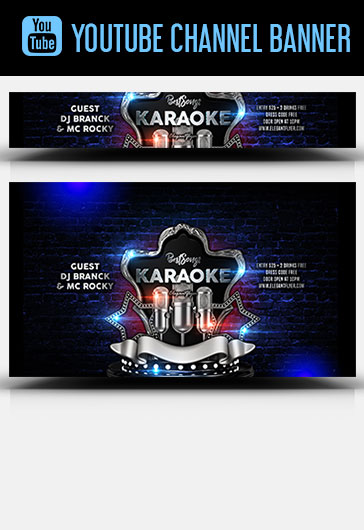 Karaoke Best Songs – Youtube Channel banner PSD Template