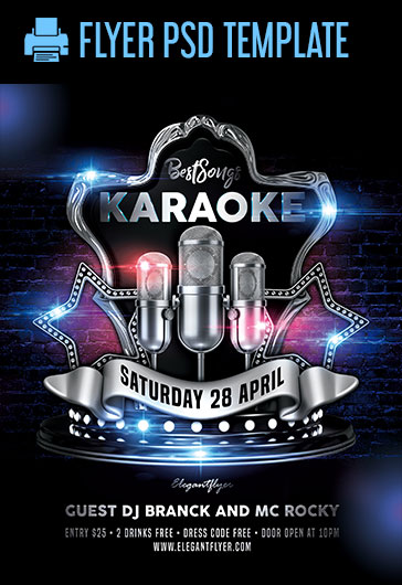 karaoke best songs  u2013 psd flyer template  u2013 by elegantflyer