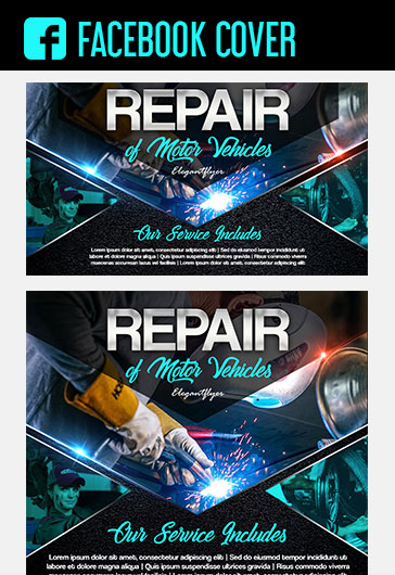 Repair of Motor Vehicles – Facebook Cover Template in PSD + Post + Event cover
