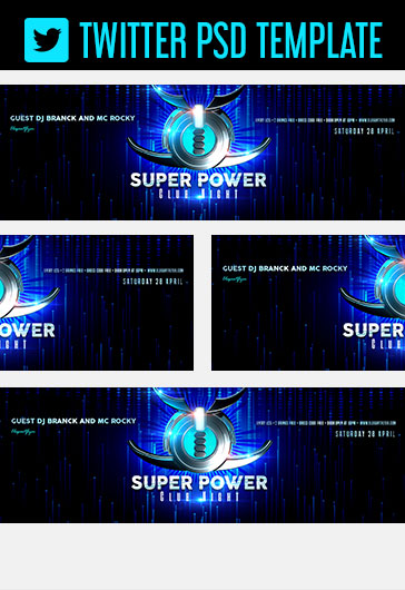 Super Power Club Night – Twitter Header PSD Template