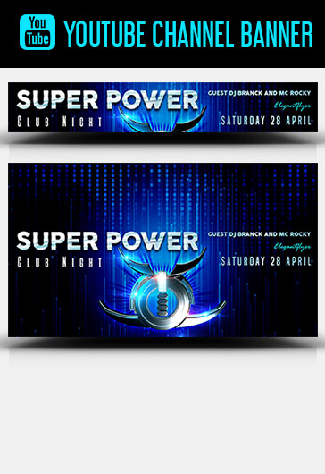 Super Power Club Night – Youtube Channel banner PSD Template