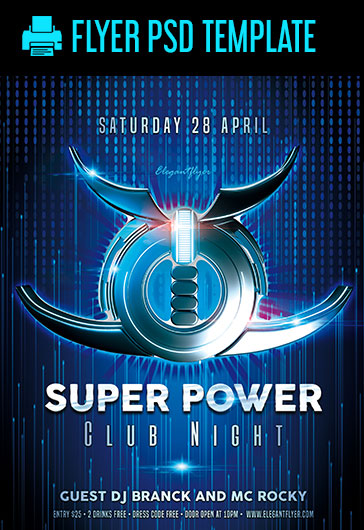 Super Power Club Night – PSD Flyer Template