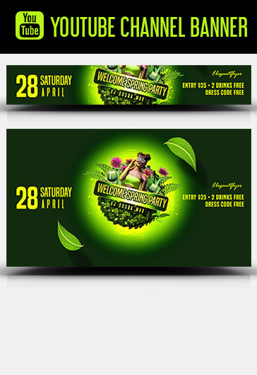Welcome Spring Party – Youtube Channel banner PSD Template