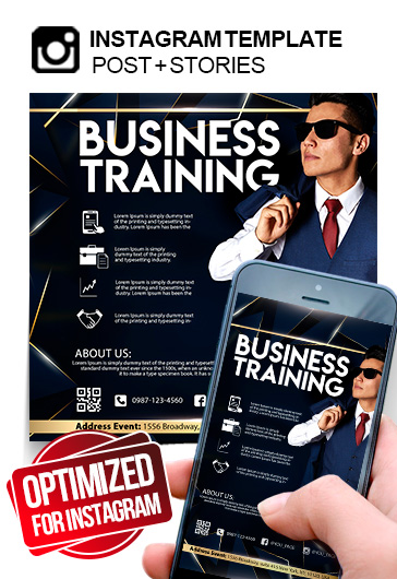Business Training – Instagram Stories Template in PSD + Post Templates