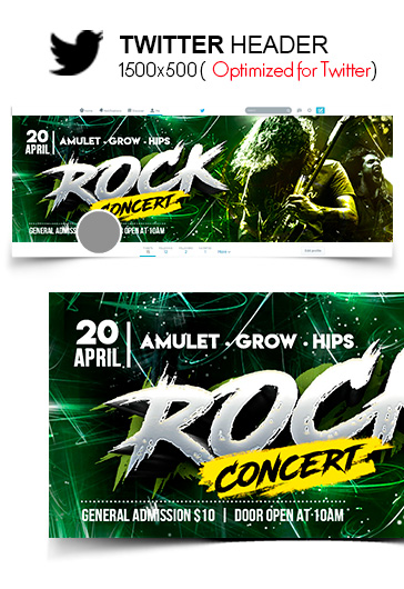 Rock Concert – Facebook Cover Template in PSD + Post + Event cover