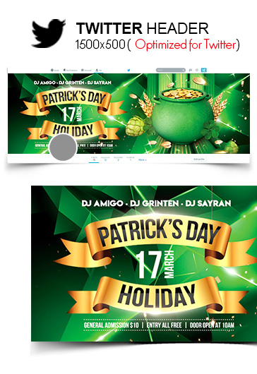 st  patrick u2019s day holiday  u2013 twitter header psd template