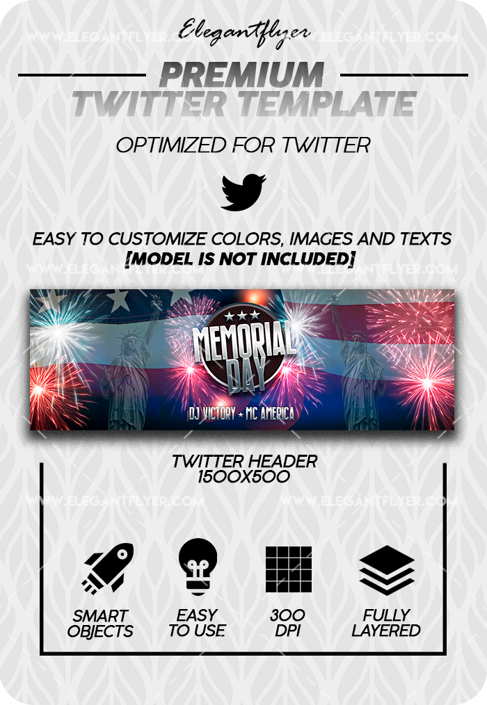 Memorial Day – Twitter Channel banner PSD Template