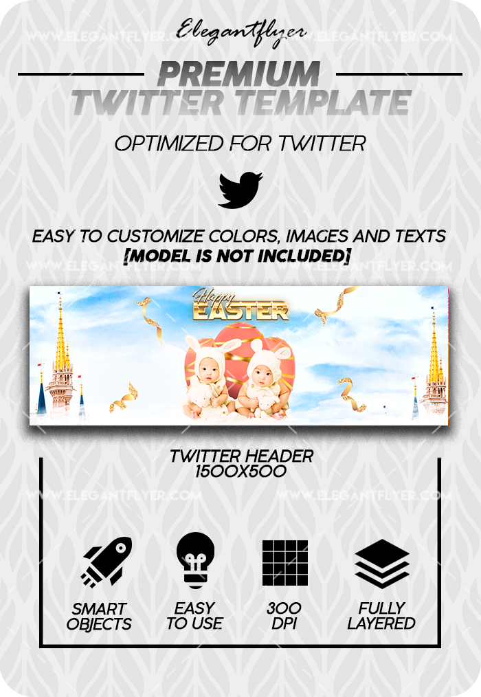 Happy Easter – Twitter Channel banner PSD Template