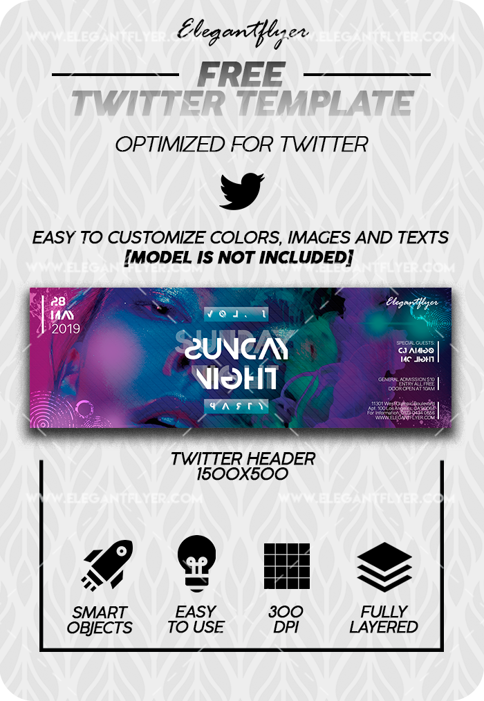 Night Club Saturday – Free Twitter Channel banner PSD Template