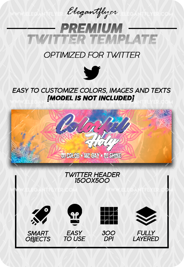 Colorful Holi – Twitter Channel banner PSD Template