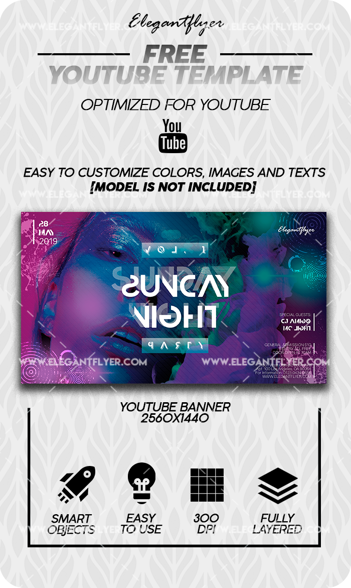 Night Club Saturday – Free Youtube Channel banner PSD Template