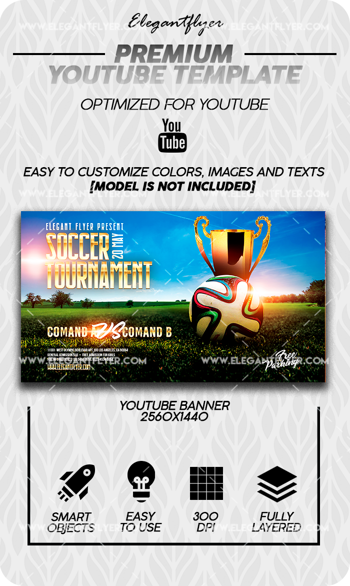Soccer Tournament – Youtube Channel banner PSD Template