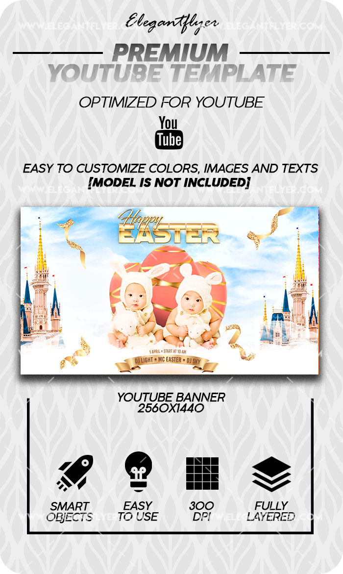 Happy Easter – Youtube Channel banner PSD Template