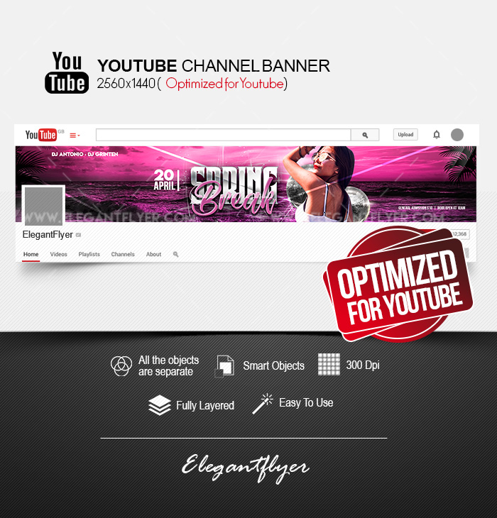 Spring Break Party – Youtube Channel banner PSD Template