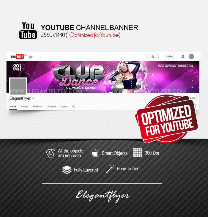 Club Dance – Youtube Channel banner PSD Template
