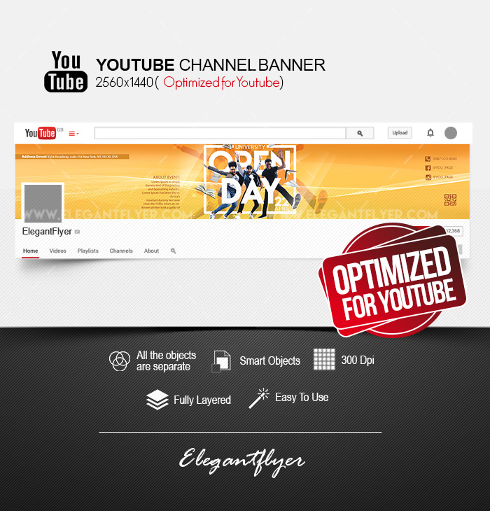 University Open Day – Free Youtube Channel banner PSD Template – by