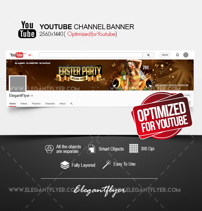 Easter Party – Youtube Channel banner PSD Template